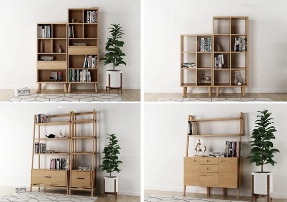 现代实木装饰架书柜组合3D模型【ID:96983521】