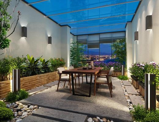 现代露台花园茶桌组合3D模型【ID:96984694】