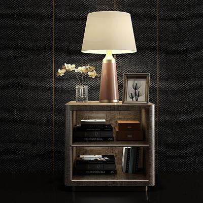 现代实木床头柜台灯饰品摆件组合3D模型【ID:96985069】