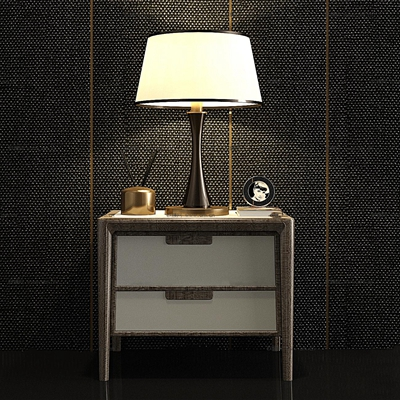 现代实木床头柜台灯组合3D模型【ID:96985166】