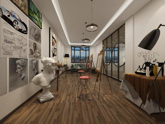 现代美术教室画室3D模型【ID:96985839】