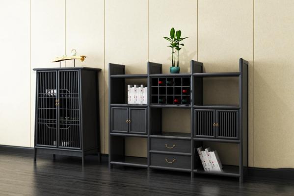 中式实木边柜装饰柜摆件组合3D模型【ID:96986627】