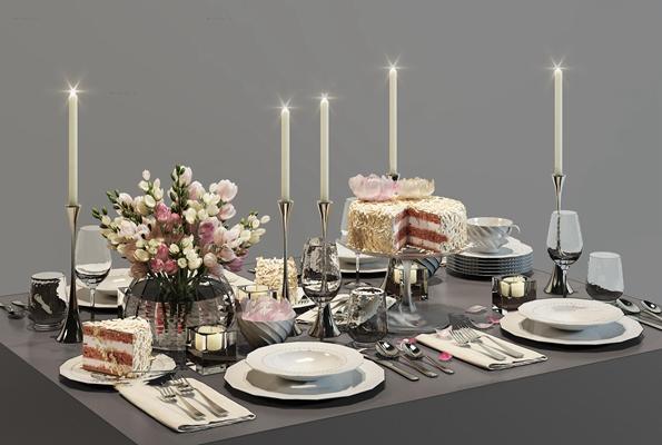 现代餐具蛋糕烛台花卉摆件组合3D模型【ID:96991632】
