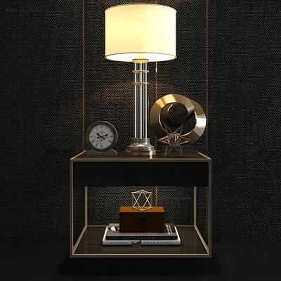 现代床头柜台灯摆件组合3D模型【ID:96992262】