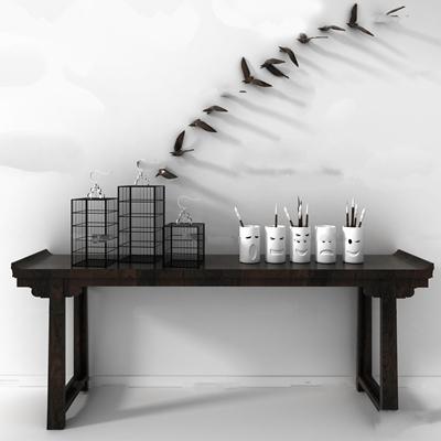 中式端景台边柜笔筒摆件墙饰组合3D模型【ID:96992414】