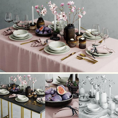 现代餐桌餐具烛台组合3D模型【ID:96995336】