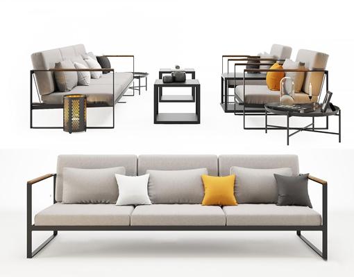 新中式多人沙发茶几组合3D模型【ID:96996293】