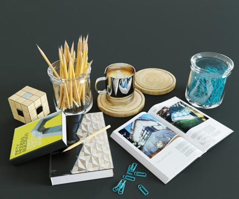 现代书籍水杯铅笔组合3D模型【ID:96996563】
