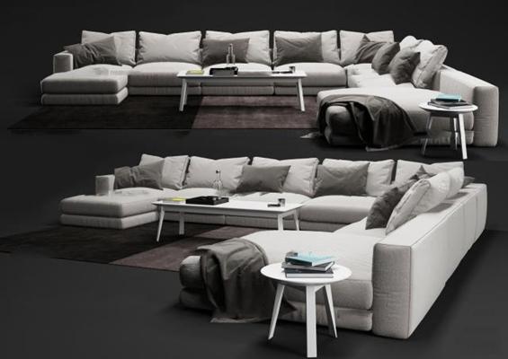 现代布艺转角多人沙发茶几组合3D模型【ID:96996692】