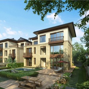 新中式别墅外观3D模型【ID:96999281】