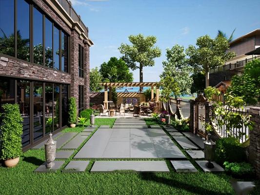 现代阳台花园3D模型【ID:96999895】