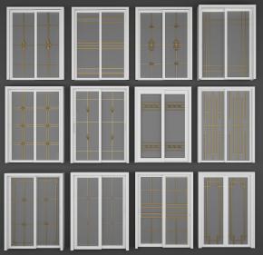 现代金属透明移门组合3D模型【ID:727808557】