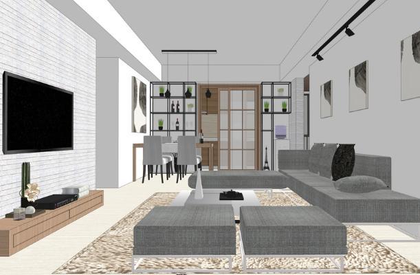北欧风格三房两厅室内设计SU模型【ID:948078855】