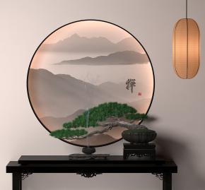 新中式实木端景台盆栽吊灯组合3D模型【ID:927826131】