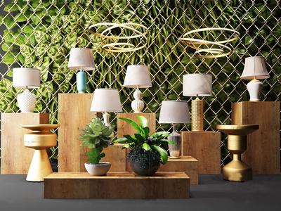 现代台灯灯具绿植铁丝网盆栽3D模型【ID:832394128】