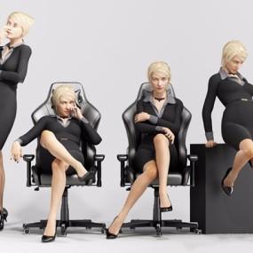办公室人物3D模型【ID:628052544】
