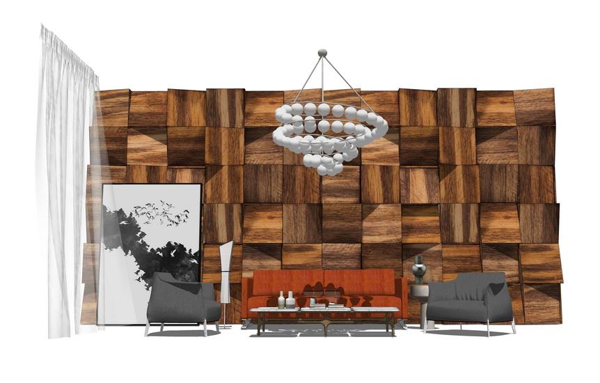 现代风格客厅沙发茶几吊灯背景墙组合SU模型【ID:736598687】