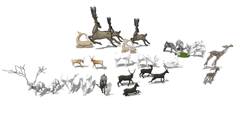 鹿雕塑组合SU模型【ID:936599674】