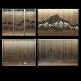 新中式屏风背景墙3D模型【ID:332398760】