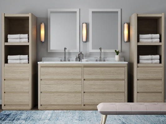 现代实木洗手台卫浴柜架3D模型【ID:97001042】