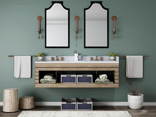 现代洗手台卫浴柜架组合3D模型【ID:97004145】