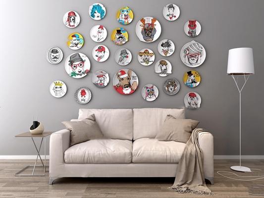 现代布艺双人沙发边几碟子墙饰落地灯组合3D模型【ID:97005471】