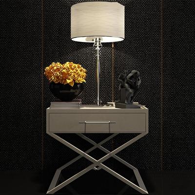 现代皮革床头柜台灯饰品组合3D模型【ID:97007163】