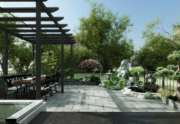 现代户外阳台花园3D模型【ID:97007992】