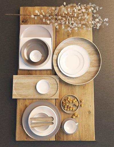 现代原木餐具组合3D模型【ID:97008839】