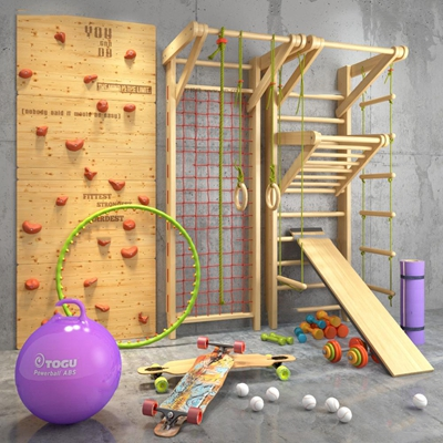 现代瑜伽球滑板攀岩墙健身器材组合3D模型【ID:97010793】
