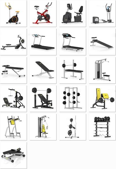 现代健身器材组合3D模型【ID:97012296】