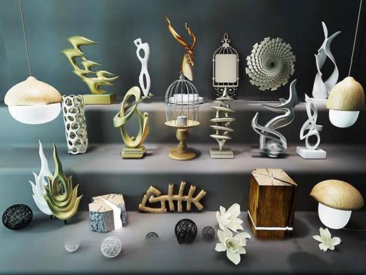 现代金属雕塑摆件组合3D模型【ID:97013015】