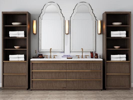 现代台盆卫浴柜架壁灯组合3D模型【ID:97013246】