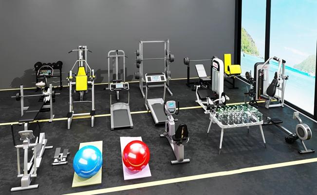 现代瑜伽垫划船机健身器材组合3D模型【ID:97013596】