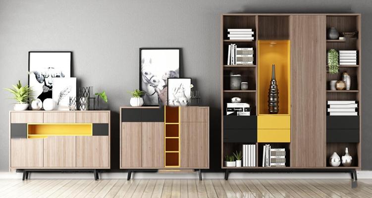 现代实木边柜装饰柜摆件组合3D模型【ID:97017222】