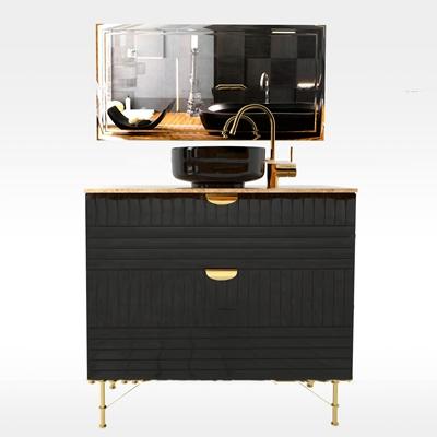 现代台盆镜子卫浴柜3D模型【ID:97018042】