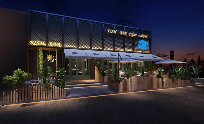 现代酒吧门面户外餐桌椅组合3D模型【ID:97018855】
