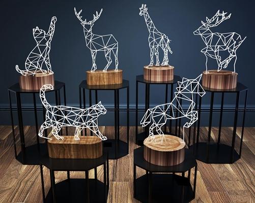 现代小鹿动物造型装饰灯组合3D模型【ID:97019688】