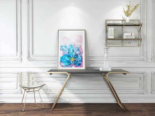 后现代玫瑰金端景条案单椅置物架装饰画摆件3D模型【ID:97021515】