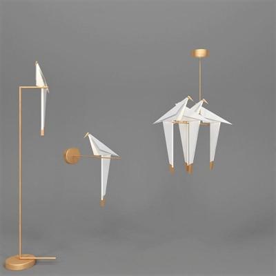 现代千纸鹤造型落地灯壁灯吊灯组合3D模型【ID:97022581】