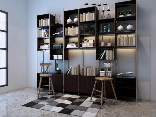 现代实木书柜吧台椅书架摆件3D模型【ID:97023451】