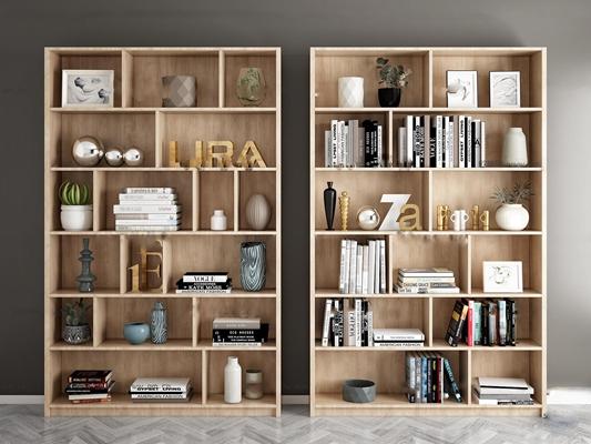 北欧实木书柜装饰柜书籍摆件3D模型【ID:97023553】