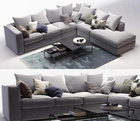 现代布艺转角沙发茶几组合3D模型【ID:97023894】