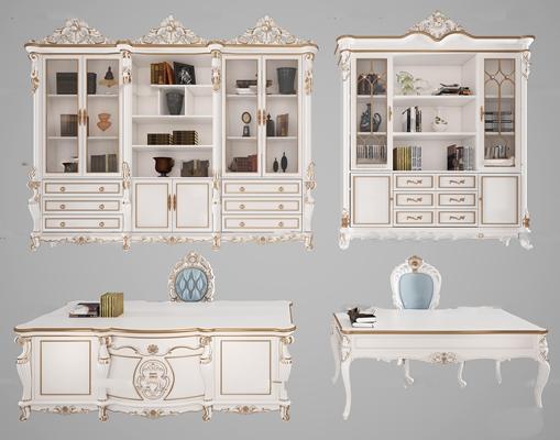 欧式实木雕花书柜书桌椅组合3D模型【ID:97025150】