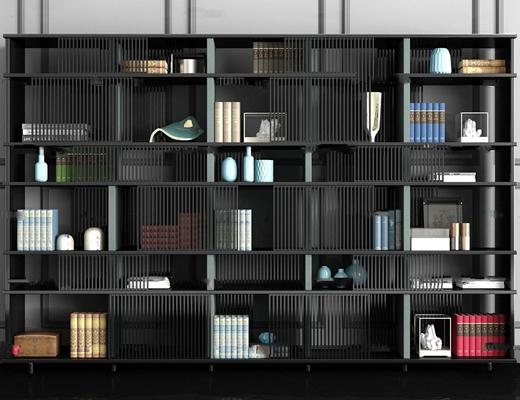 现代书架装饰架书籍饰品摆件3D模型【ID:97025356】
