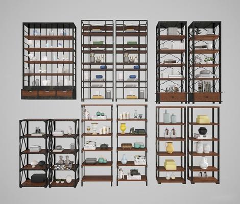现代书架装饰架书籍陶瓷器皿饰品摆件3D模型【ID:97025657】