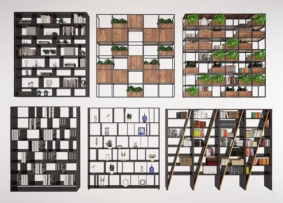 现代实木铁艺书架装饰架花艺架书籍绿植摆件饰品3D模型【ID:97025729】
