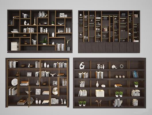 现代实木书柜书籍饰品摆件3D模型【ID:97025750】
