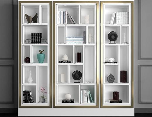 现代书柜装饰柜陈设品组合3D模型【ID:97026359】