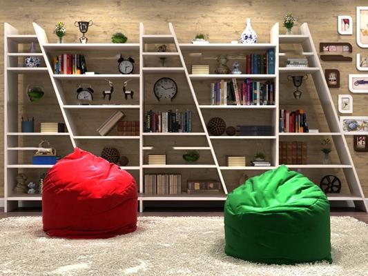 北欧书架装饰架休闲沙发装饰画书籍饰品摆件3D模型【ID:97026758】